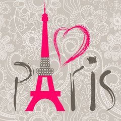 Panel SzklanyParis lettering over lace seamless pattern