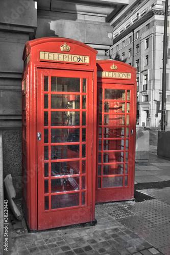 Acrylic Prints Red, black, white Cabines téléphoniques - Londres (UK)