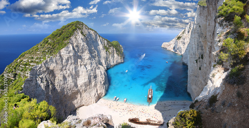 Photo Stands Shipwreck Navagio Beach with shipwreck in Zakynthos, Greece