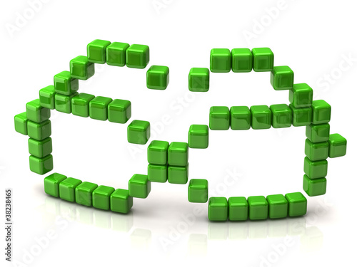 Foto op Aluminium Pixel Glasses icon made of green cubes