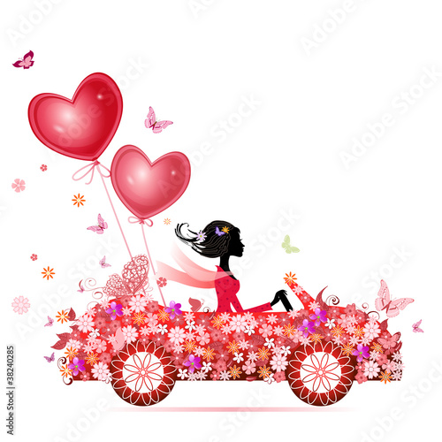 Recess Fitting Floral woman Female flower cars with air valentines
