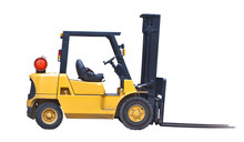 Industrial Fork Lift Truck Isolated On White