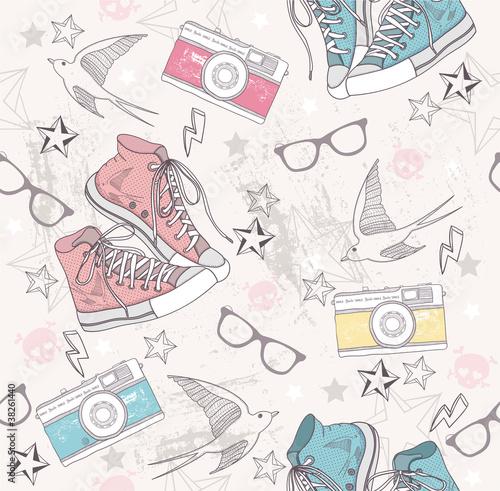 Śliczny grunge abstrakta wzór. Bezszwowy wzór z butami, fotografia