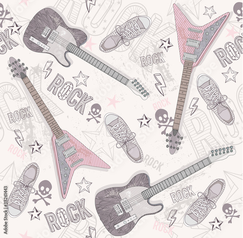 Cute grunge abstract pattern. Seamless pattern with guitars, sho Poster Mural XXL