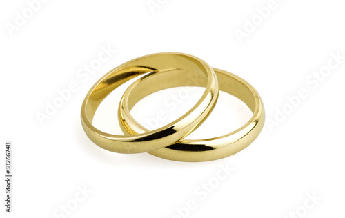 Photo  old wedding rings (clipping path )