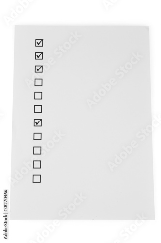 Fototapeta Checklist isolated on white obraz na płótnie