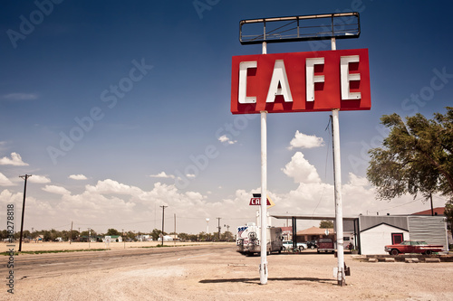 Photo  Cafe sign along historic Route 66 in Texas.