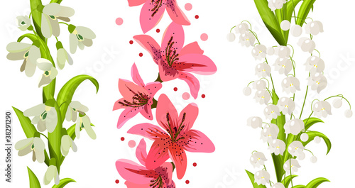 Samless Borders Made Of Spring Flowers Buy This Stock Vector And