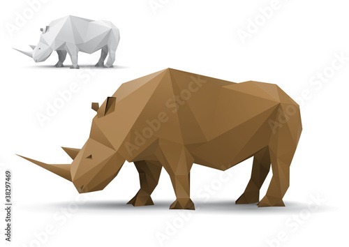Rhino stylized triangle polygonal model