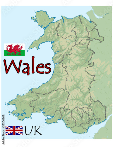 Map Of Uk In Europe.Wales Uk Europe Map Flag Emblem Buy This Stock Vector And Explore