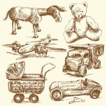 Antique Toys-original Hand Dra...