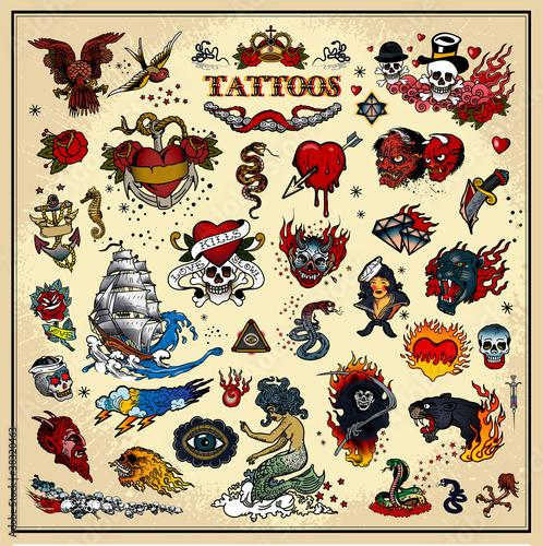 Fototapeta premium Zestaw tatuaży