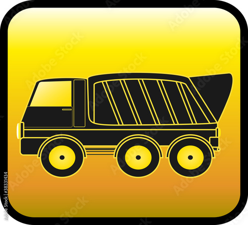 Deurstickers Cartoon cars silhouette big dump truck on a glossy yellow background