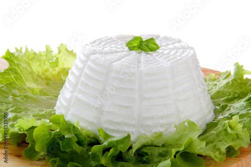 Photo fresca ricotta su un letto di insalata verde