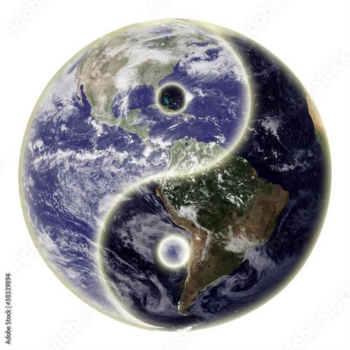 Fotografie, Obraz  Yin and yang symbol and earth