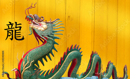 Giant Chinese dragon at WAt Muang, Thailand