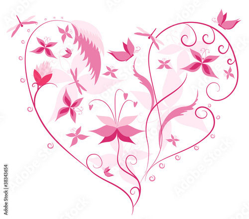 Floral Love Shape Heart Of Flowers Butterflies And