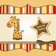 childish baby shower card with giraffe