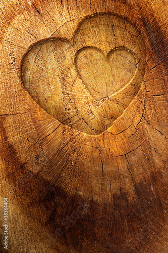 Love text on  wooden background - 38364464