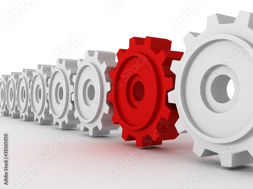 row set of cogwheel white gears with unique red gear Poster