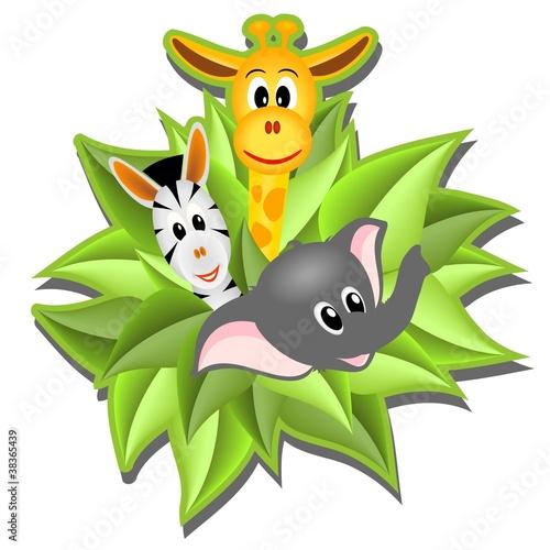 Poster de jardin Zoo little cartoon elephant, giraffe and zebra
