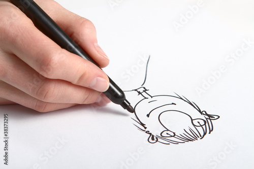 Valokuvatapetti Human Hand drawing caricature of man