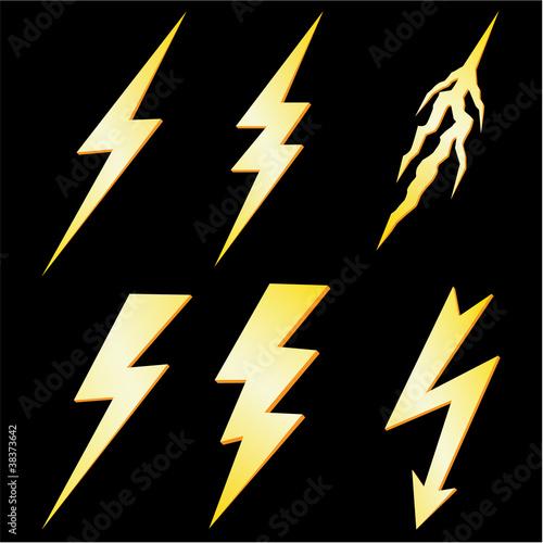 Lightning Bolt set isolated on Black