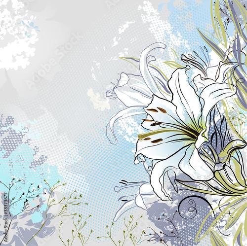 grunge-powitanie-karta-z-dekoracyjne-biale-lilie