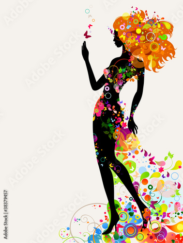 Door stickers Floral woman Summer decorative composition with girl