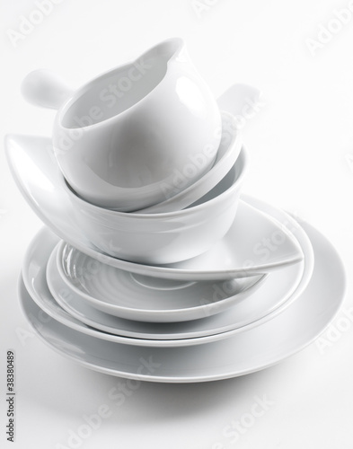 stack of clean white dishes Canvas Print