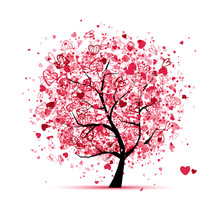 Valentine Tree With Hearts For...