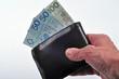 Portfel z banknotami w ręku