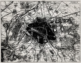 Historical map of Paris, France.