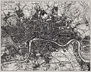 FototapetaHistorical map of London, England.