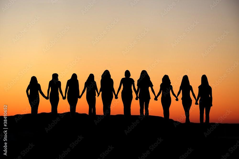 Fototapeta Woman friendship silhouette.