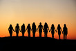 canvas print picture - Woman friendship silhouette.