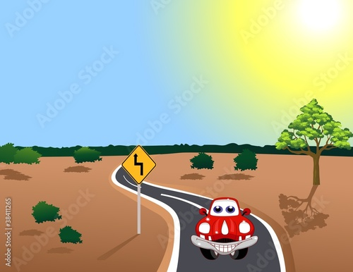 Foto op Canvas Cars car in the road