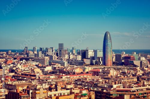 Papiers peints Barcelona Barcelona`s skyline with skyscrapers.
