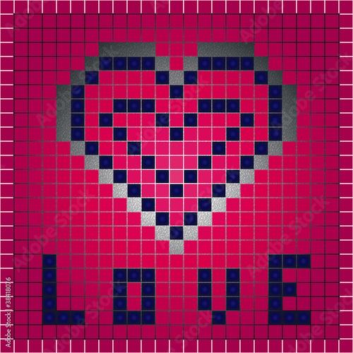Autocollant pour porte Pixel Love sign