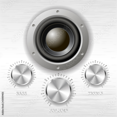 vector metal volume treble bass knobs and speaker Canvas Print