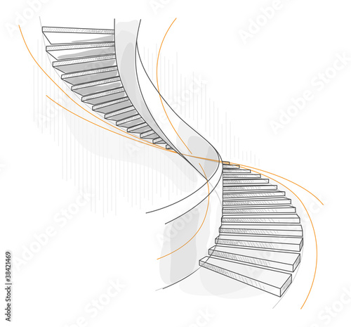Valokuva  Sketch of a spiral staircase.