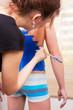 female bodyart artist making initial preparation. bodyart projec