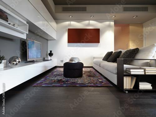 soggiorno moderno con divano e pavimento di legno - Buy this ...