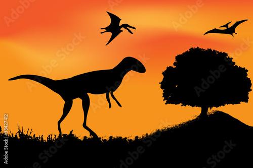 Photo  vector dinosaur silhouette