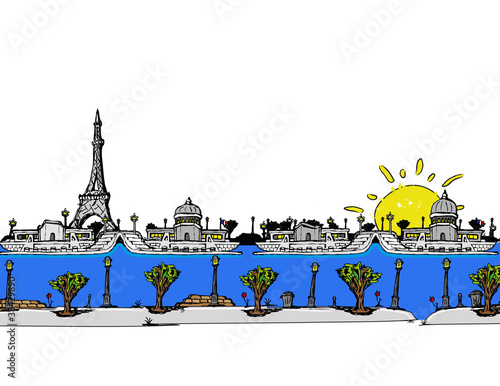 The artist city of Paris comic strip drawing illustration Canvas Print