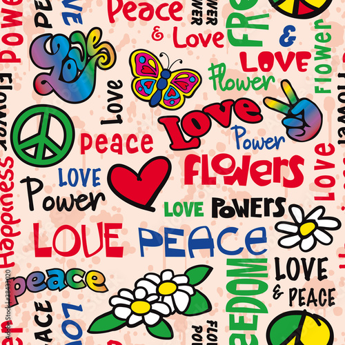Photo  Peace and love seamless pattern