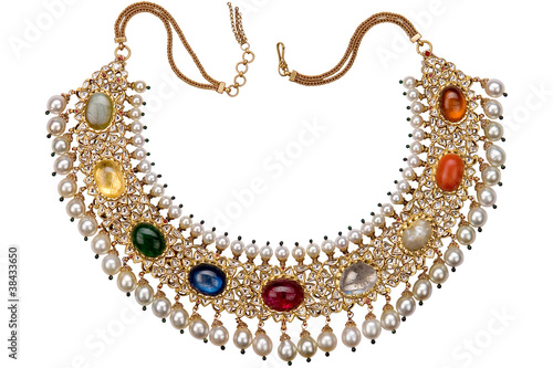 Foto antique precious stones studded gold jewelry, Rajasthan, India