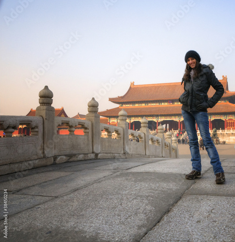 Beautiful woman and the Forbidden City - Beijing / China Canvas-taulu