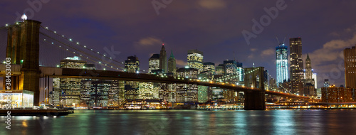 New York City  Brooklyn Bridge panorama at dusk