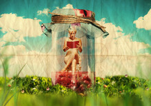 Art Collage: Beautiful Woman With Book